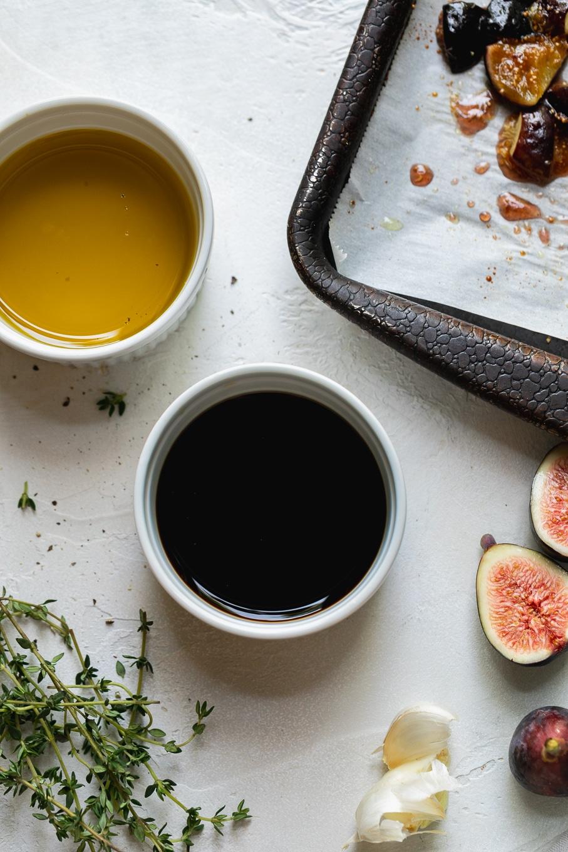 Overhead shot of vinaigrette ingredients