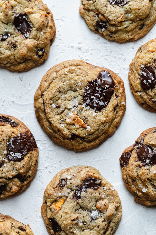 Overhead shot of a mango dark chocolate chunk cookies