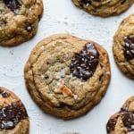 Overhead shot of a mango dark chocolate chunk cookies with sea salt