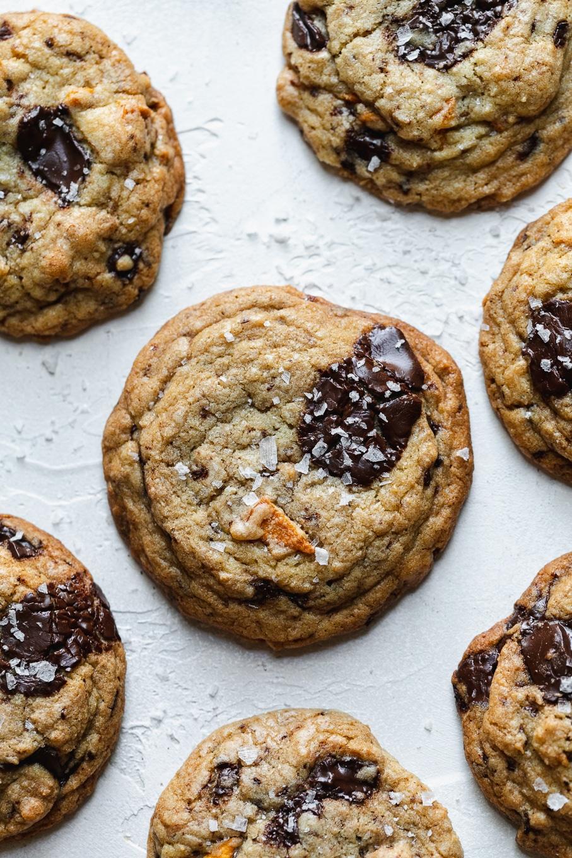 Overhead shot of cookies with sea salt