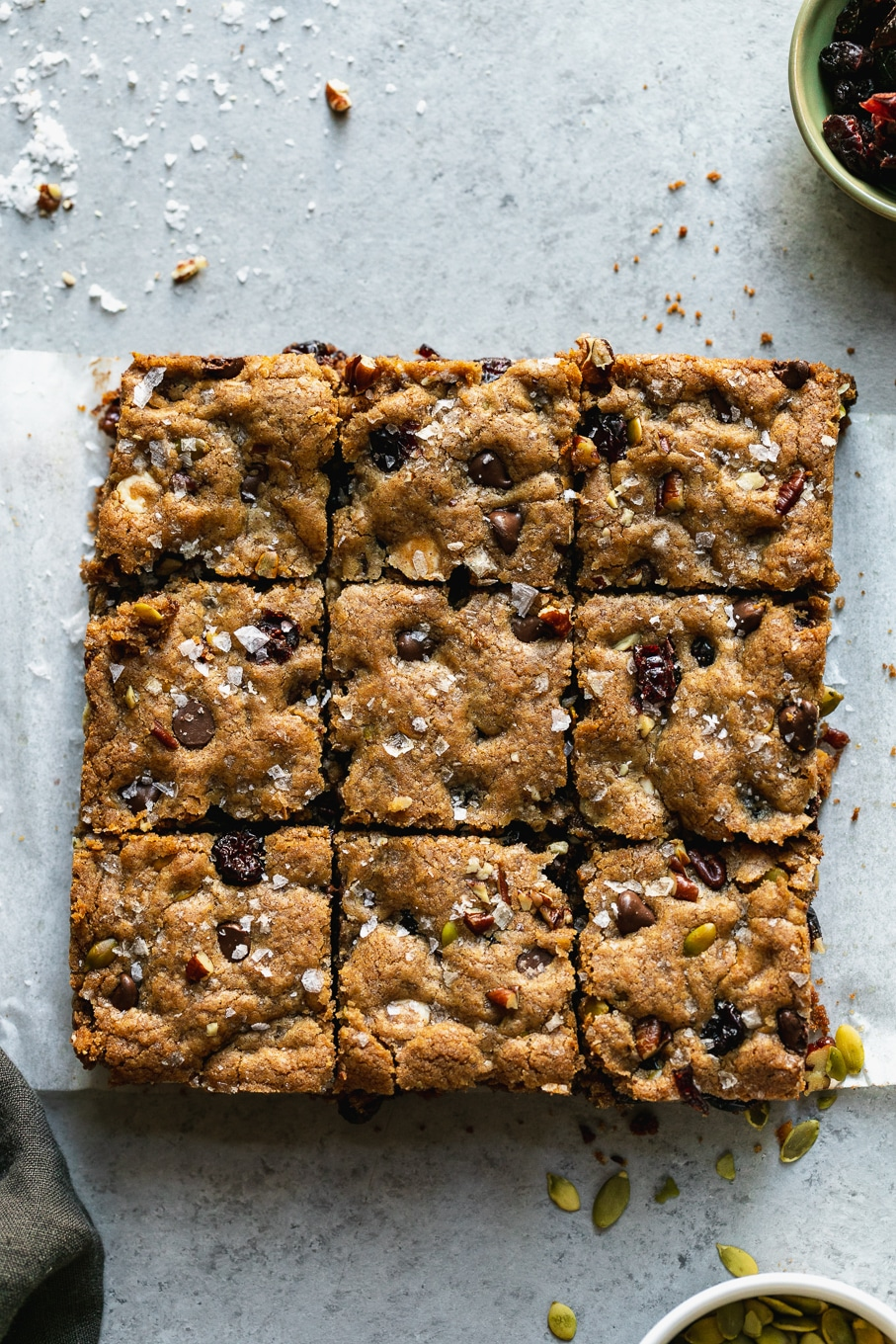 Overhead shot of blondies cut into squares