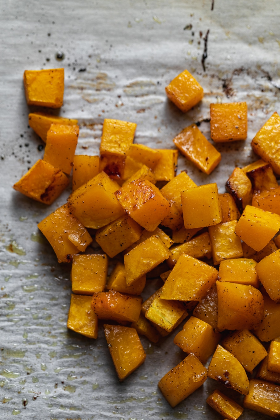 Overhead close up shot of roasted butternut squash