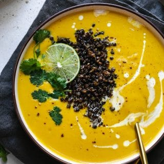 Curried Cauliflower Soup with Crispy Lentils