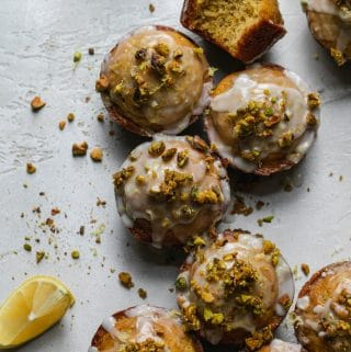 Lemon Pistachio Muffins with Lemon Glaze and Candied Pistachios