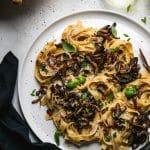 Tagliatelle Carbonara with Crispy Mushrooms