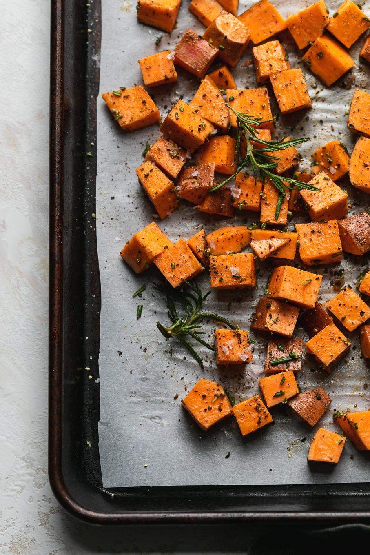 Overhead shot of diced sweet potatoes before roasting