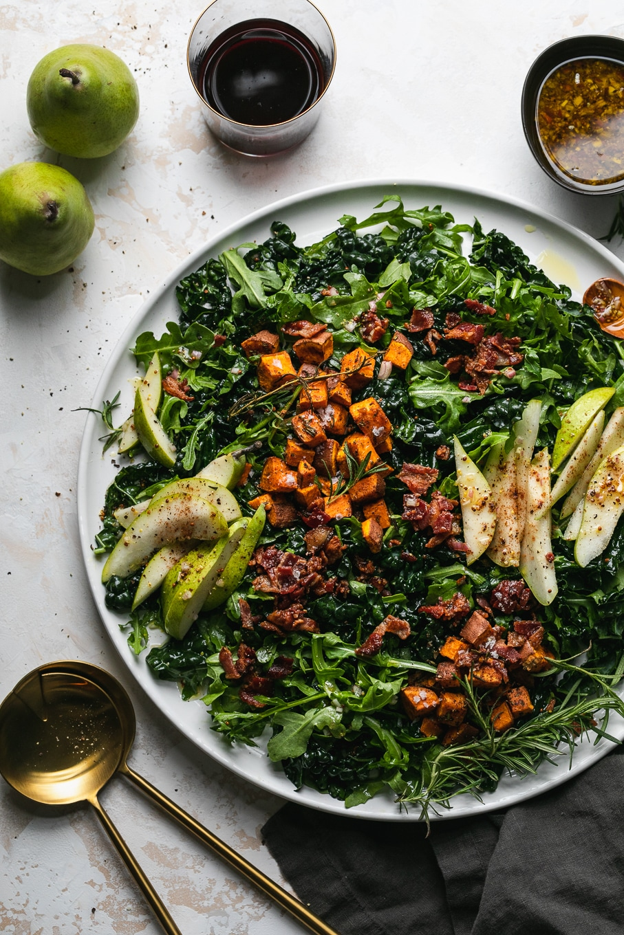 Overhead shot of a winter salad on a large platter