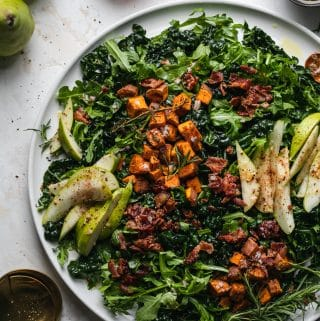 Winter Salad with Rosemary Roasted Sweet Potatoes, Bacon, and Pear