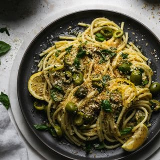 Green Olive Pasta with Toasted Lemon Breadcrumbs and Herbs
