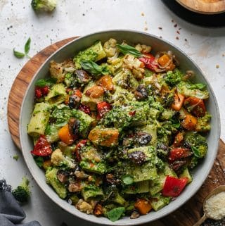 Broccoli Pesto Pasta with Roasted Vegetables