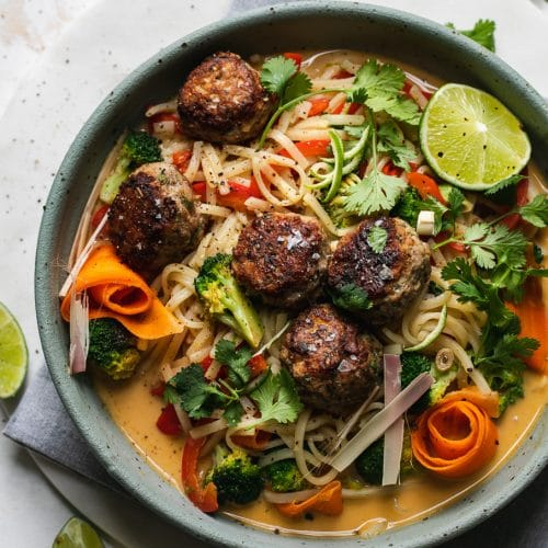Coconut Lime Rice Noodle Stir Fry With Lemongrass Meatballs