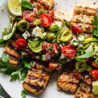 Grilled Salmon with Marinated Zucchini Greek Salad